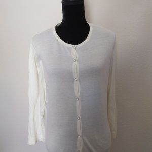 Off white cardigan with rhinestone buttons, xxl